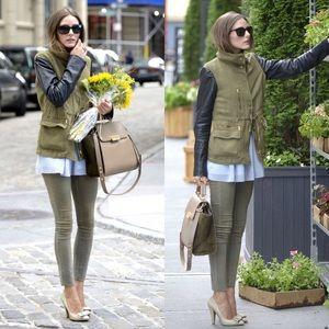 Zara Green Lamb Leather Sleeve Army Utility Jacket